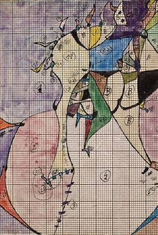 Od lewej: Tadeusz Brzozowski: Organki, 1950 r.,  Frejlina II, 1972 r., EGZERCYRKI KRES, 1981 r., Projekt kilkimu Frejlina, 1955 r., fot. materiały prasowe MNWr