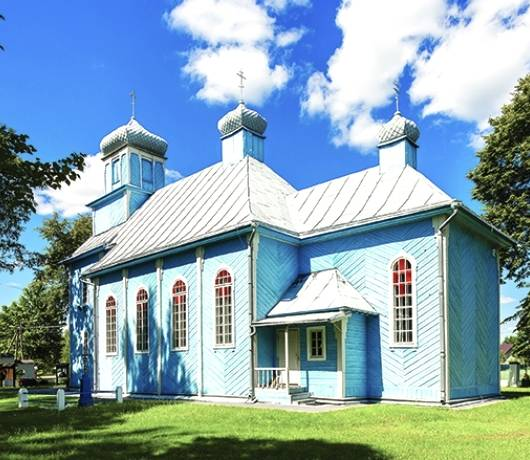 Od lewej: Cerkiew w Dubiczach Cerkiewnych i ogród przy pałacu Branickich w Białymstoku
