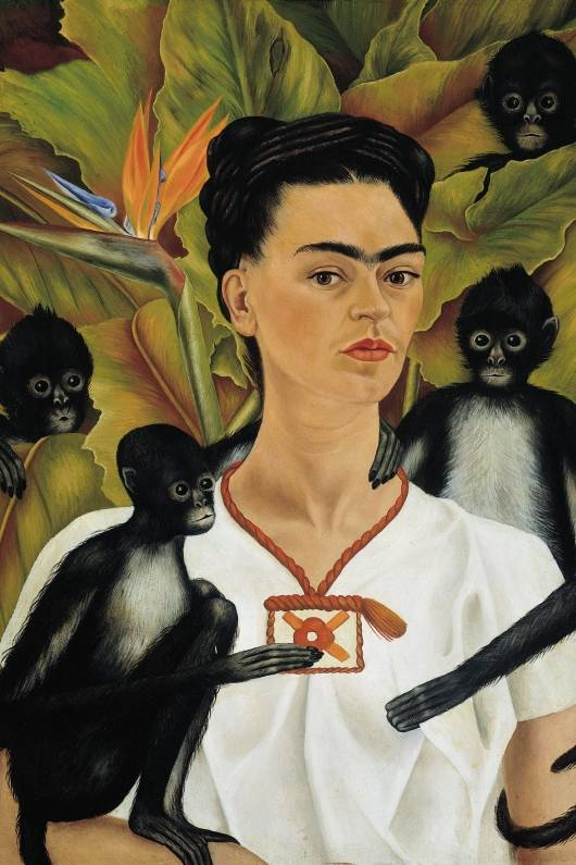 Od lewej: Autoportret z małpami, 1943; Miłosny uścisk wszechświata, Ziemia (Meksyk), Ja, Diego i Pan Xolotl, 1949; © 2017 Banco de México Diego Rivera Frida Kahlo Museums Trust, Mexico, D.F. / Artists Rights Society (ARS), New York